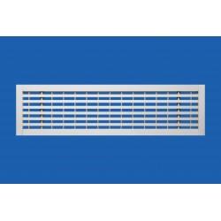 Grille linéaire de soufflage à ailettes horizontales fixes cadre plat et registre